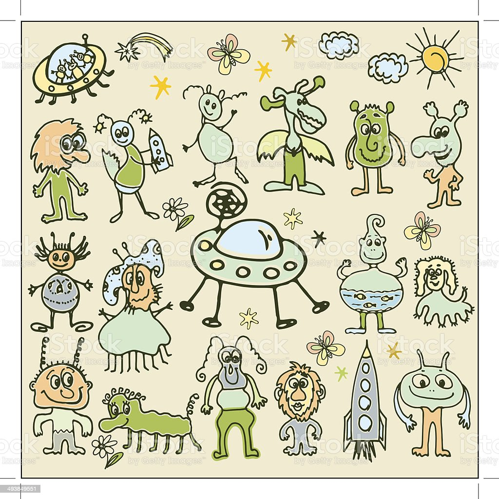 illustration of monsters royalty-free stock vector art