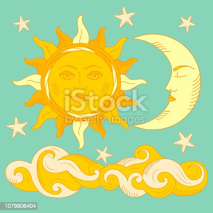 Illustration of Moon and Sun with faces.
