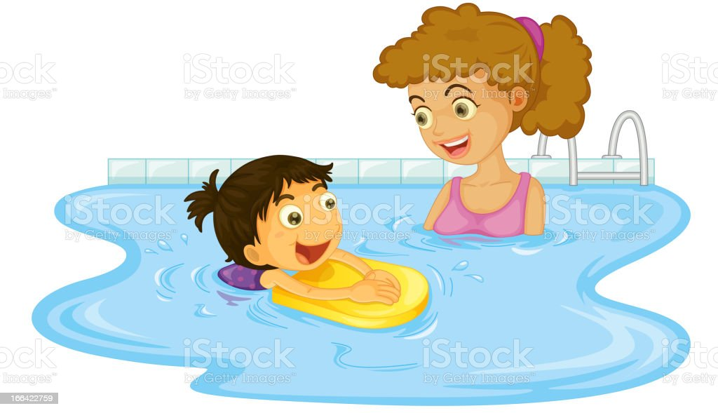 Illustration of mother and child in a swimming pool royalty-free stock vector art