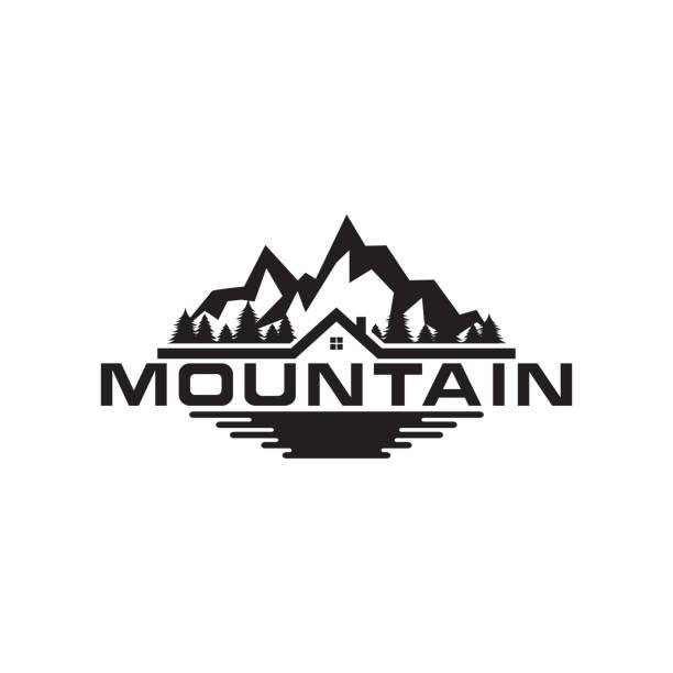 illustration of mountain, trees, house and field logo design - jezioro stock illustrations