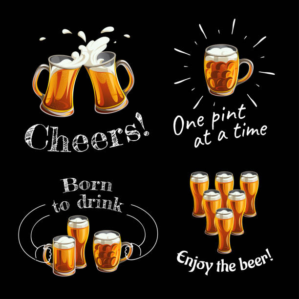 Illustration of mugs and glasses for toast with light beer and texts on black background. vector art illustration