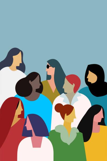 다민족 여성의 일러스트. 여성 파워를 위한 컨셉 - 여성 문제 stock illustrations