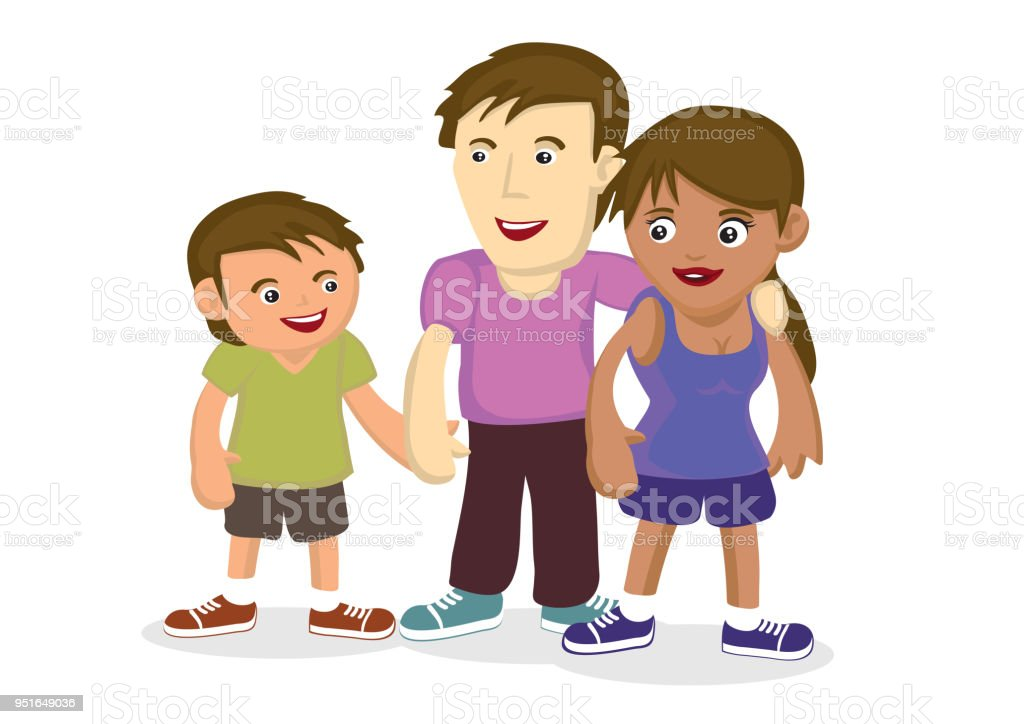 Illustration of multiracial family. royalty-free illustration of multiracial family stock illustration - download image now