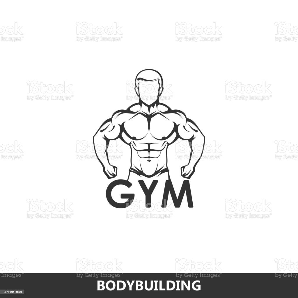 Illustration Of Muscled Man Body Silhouette Fitness Or Bodybuilding Concept Royalty Free