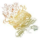 illustration of music flower over white background