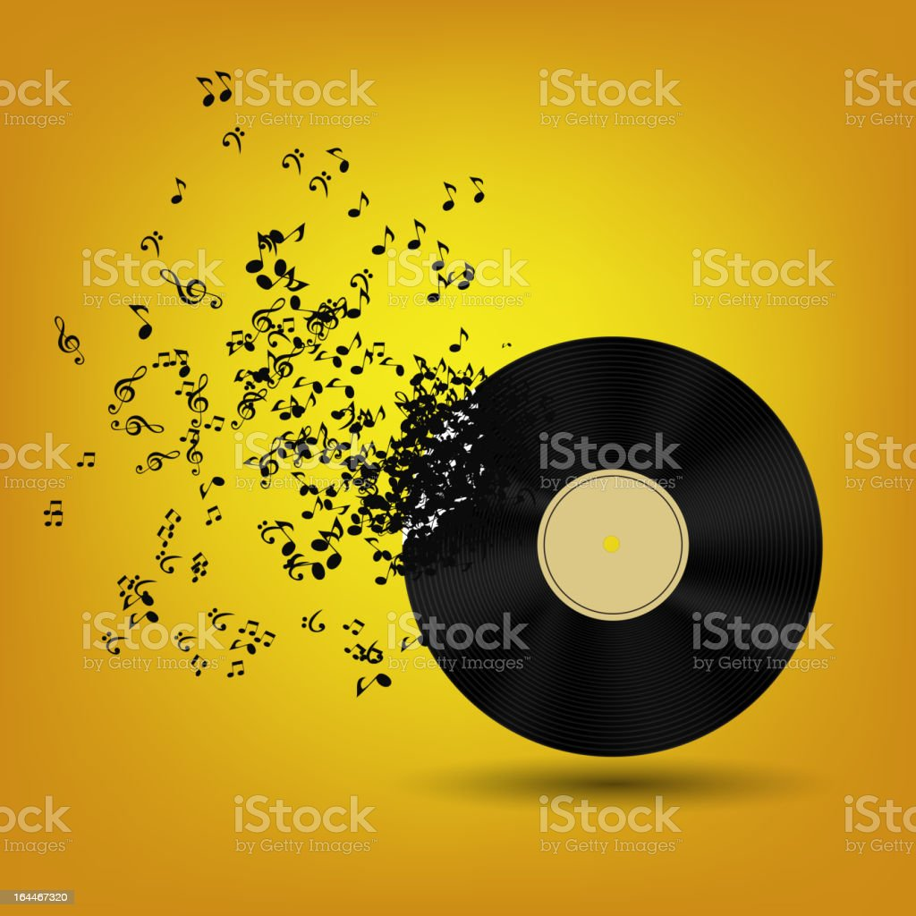 Illustration of musical notes flying out of black record royalty-free stock vector art