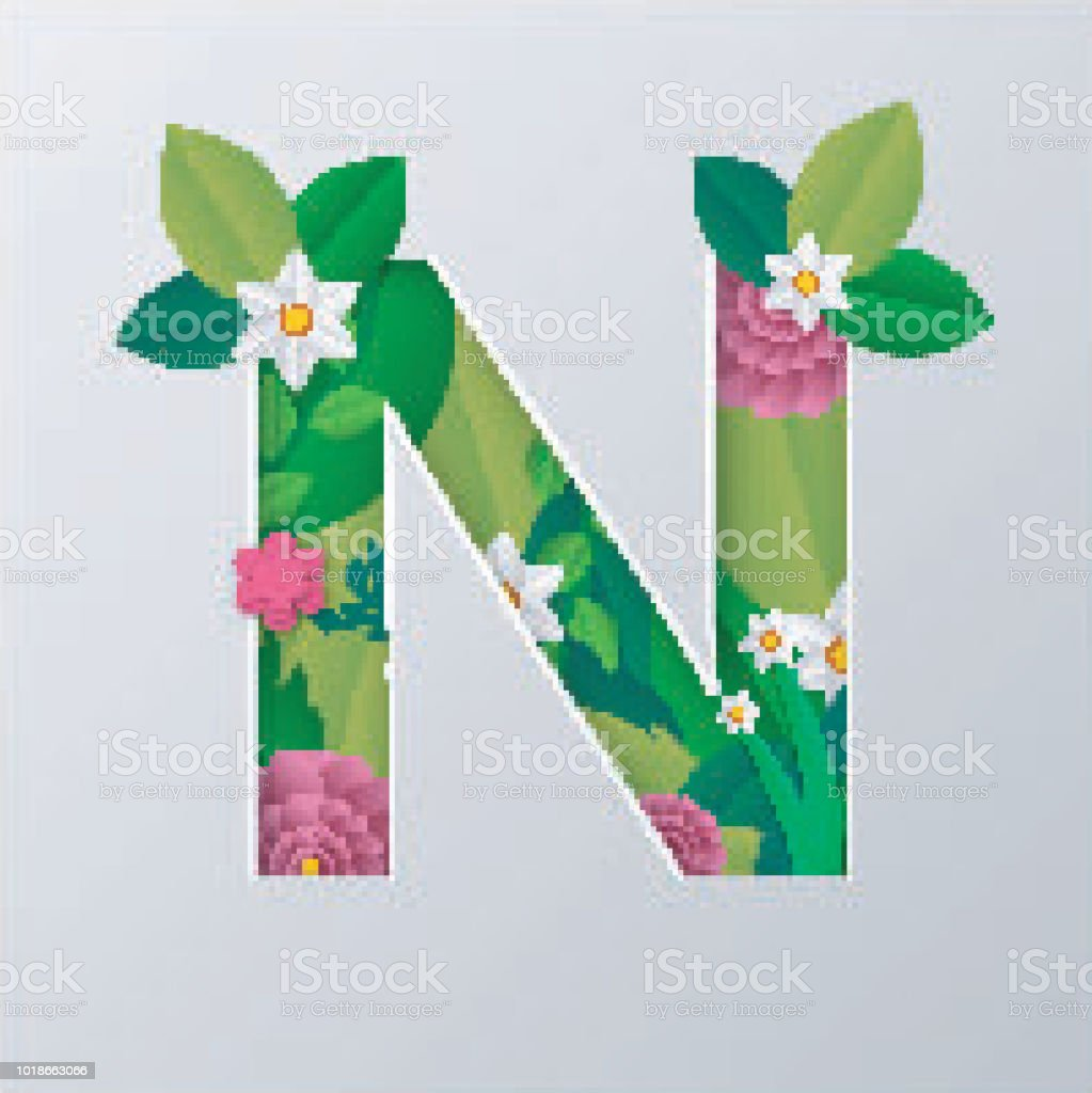 Illustration Of N Alphabet Made By Flowers Leaves With Paper Cut