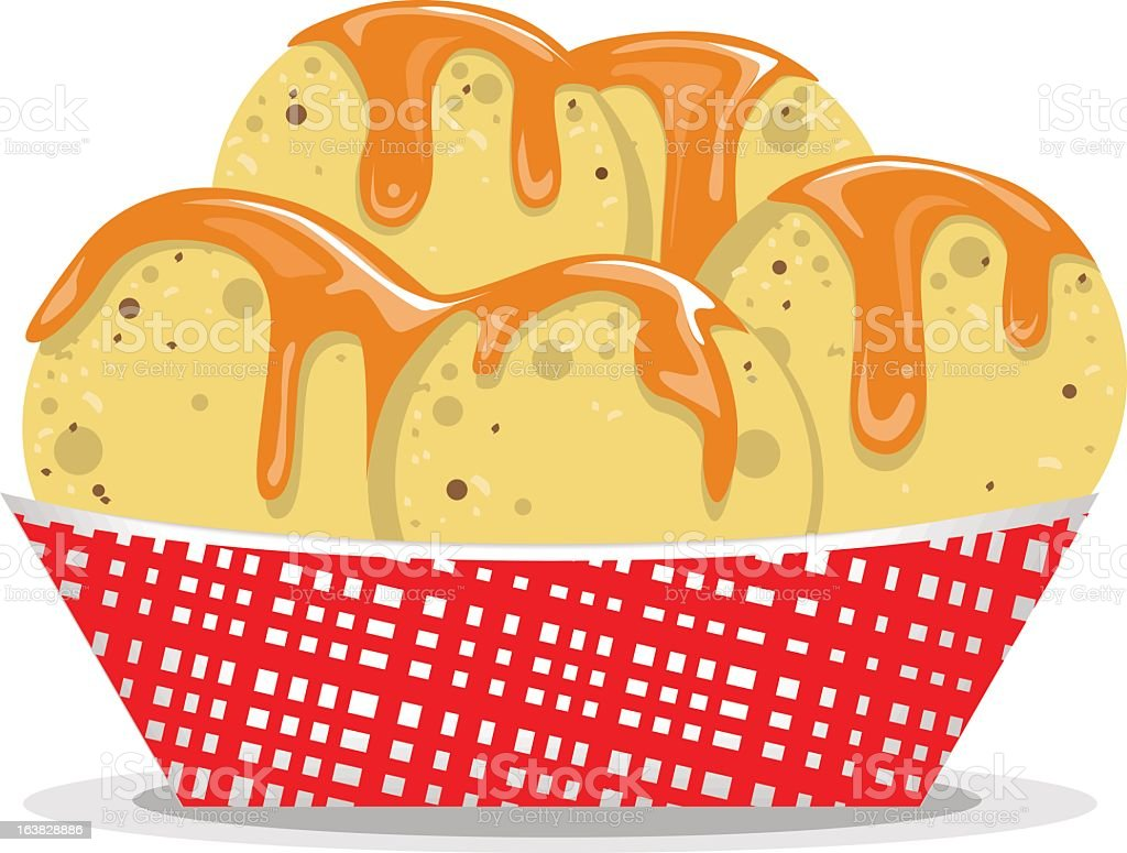 Illustration of nachos and cheese in a red basket vector art illustration