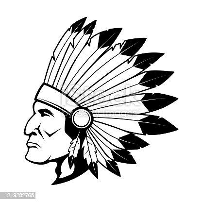 Illustration of native american chief head in traditional headdress. Design element for label, sign, poster, card, t shirt. Vector illustration