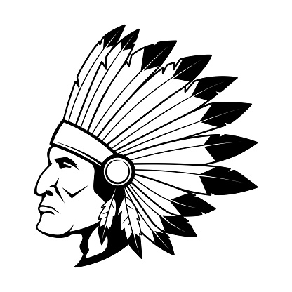 Illustration of native american chief head in traditional headdress.Design element for label, sign, poster, card, t shirt. Vector illustration