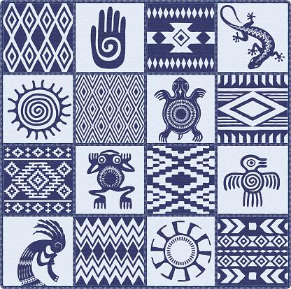 Illustration of Native Americans ethnic patterns and symbols: hand, sun, lizard, frog, bird, turtle, kokopelli. Blue shades.