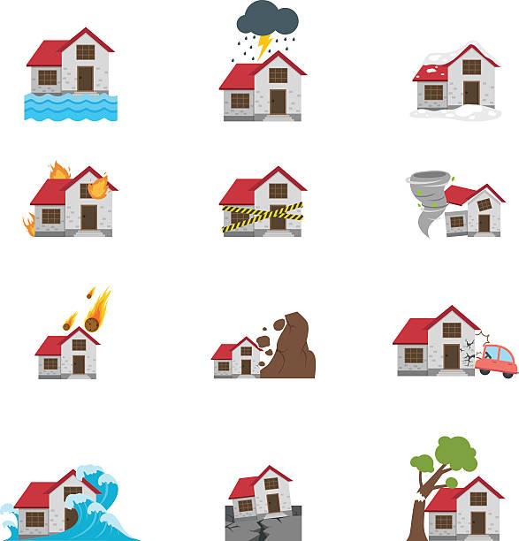 illustrations, cliparts, dessins animés et icônes de icône illustration de catastrophe naturelle - desastre natural