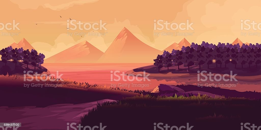 Illustration Of Night Landscape, Mountains, Sunset vector art illustration
