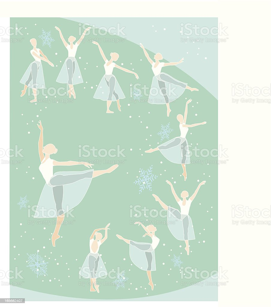 Illustration of nine ballet dancers inside a green circle royalty-free stock vector art