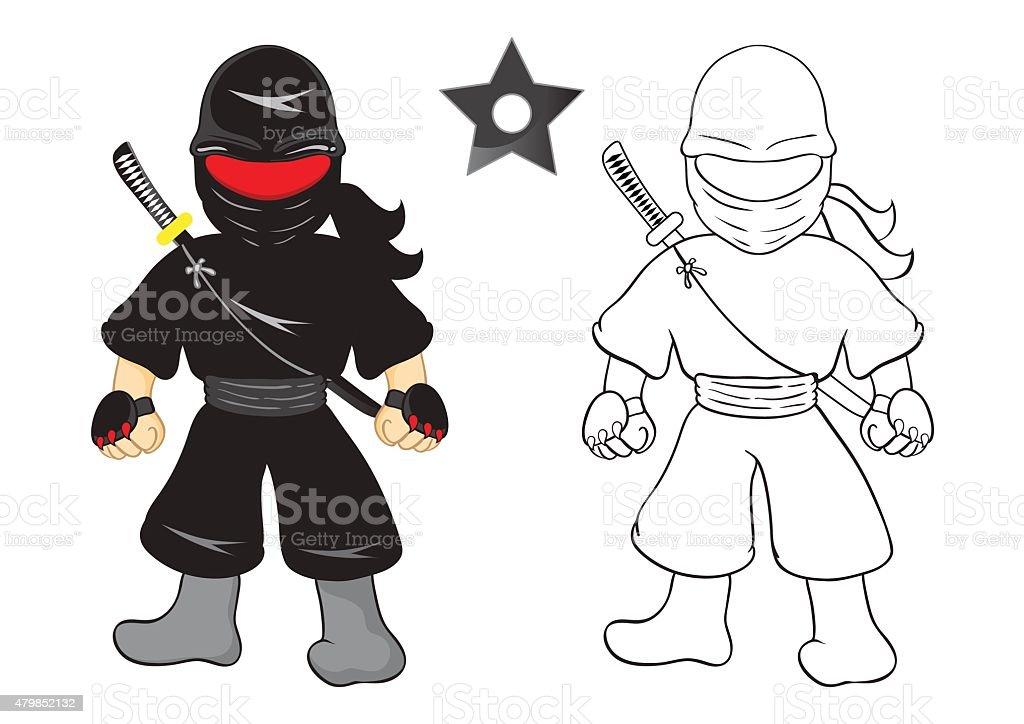 Illustration de vecteur de dessin anim ninja sur un arri replan blanc stock vecteur libres de - Dessin anime ninja ...
