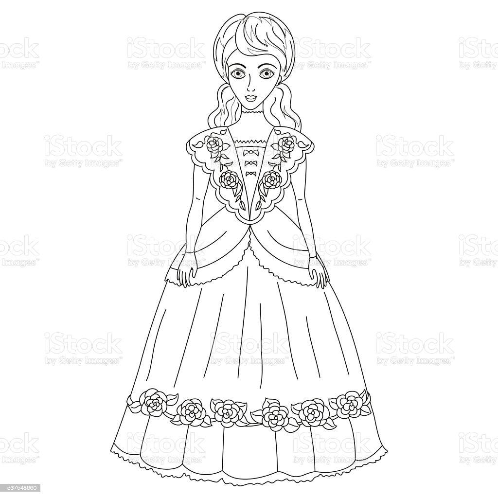 のイラストレーション 貴婦人 古代のドレス塗り絵の本ページ 1人の
