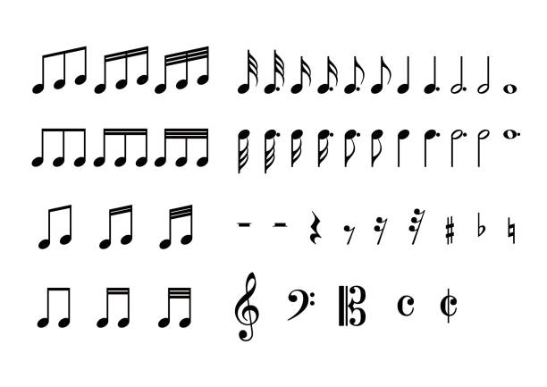 illustration der hinweis - musiksymbole stock-grafiken, -clipart, -cartoons und -symbole