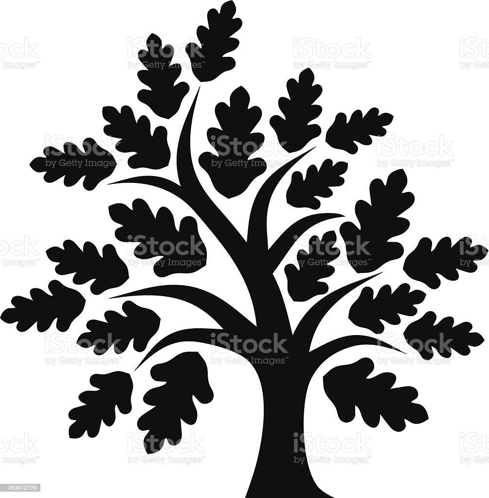 Illustration of oak tree in all black vector art illustration