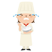 Illustration of occupation.Female pastry chef. Crying woman.