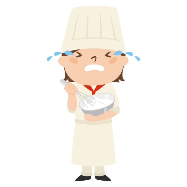 illustrazioni stock, clip art, cartoni animati e icone di tendenza di illustration of occupation.female pastry chef. crying woman. - chef triste