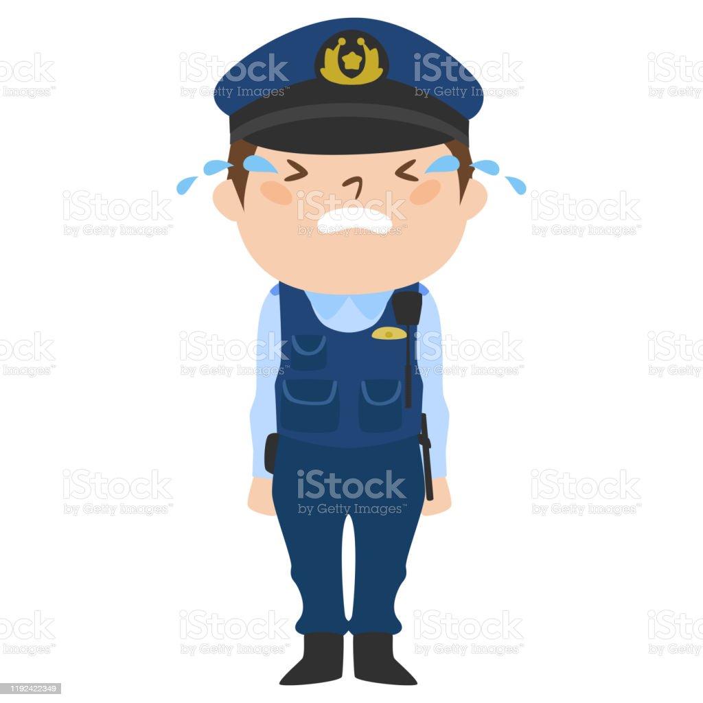 職業のイラスト男性警察官泣いている男 1人のベクターアート素材や画像を多数ご用意 Istock