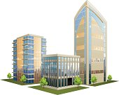 Illustration of office part with skyscrapers