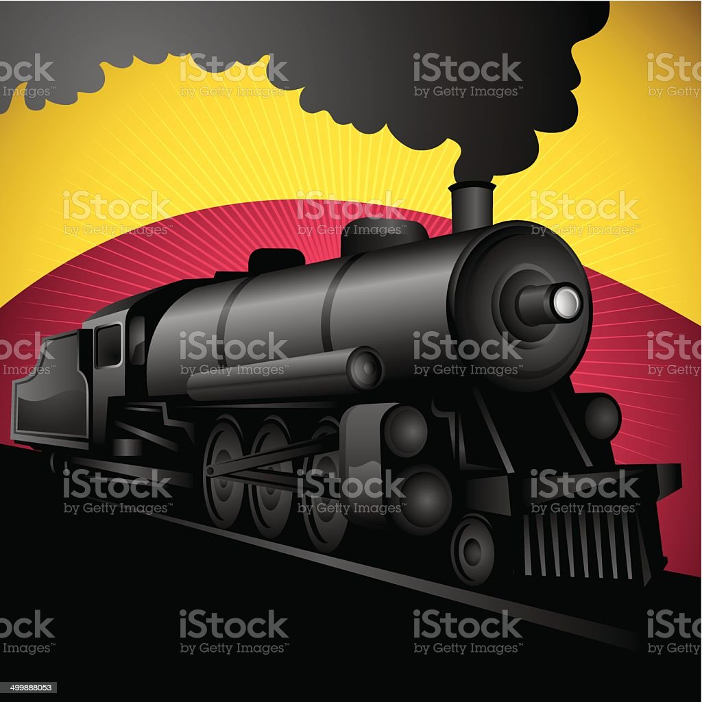 Illustration of old stylized locomotive. vector art illustration
