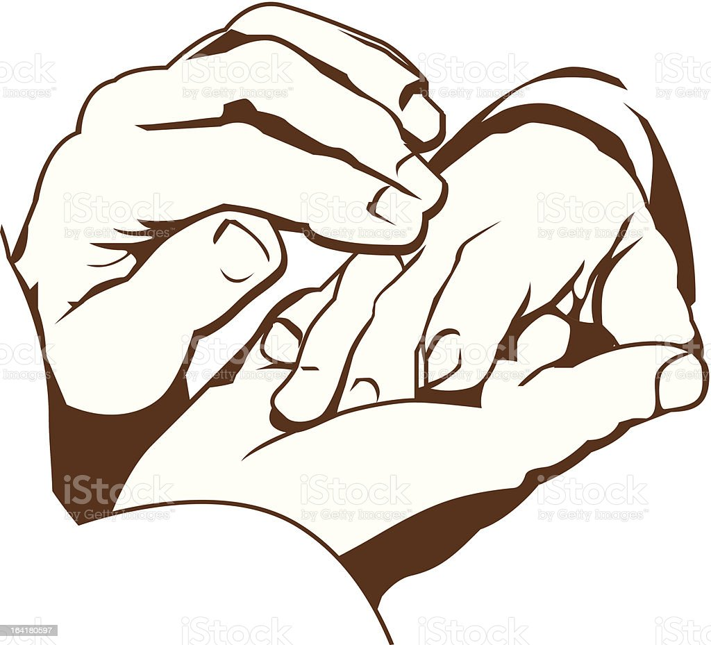 Illustration of one person healing another's hand vector art illustration