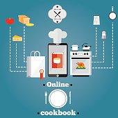 illustration of online cooking.