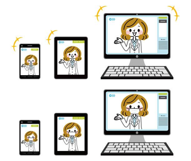 オンライン医療診断の図。 - リモート点のイラスト素材/クリップアート素材/マンガ素材/アイコン素材