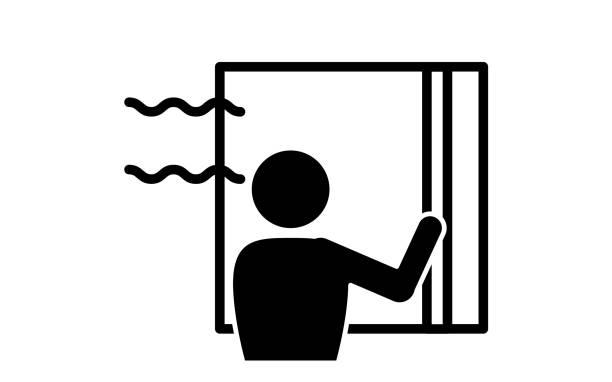abbildung der öffnen von fenstern für die belüftung - lüften stock-grafiken, -clipart, -cartoons und -symbole