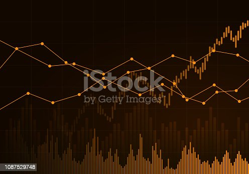 Illustration of orange business chart of growth and fall in stock, money or commodity prices with lines and background change - vector
