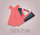 Illustration of origami  men's suit and lady dress