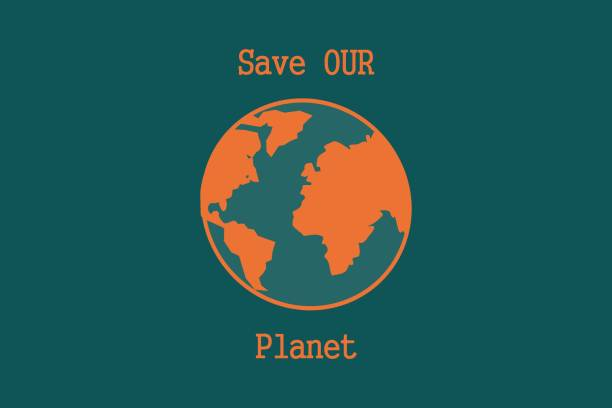 Illustration of our globe with Save our planet quote vector art illustration