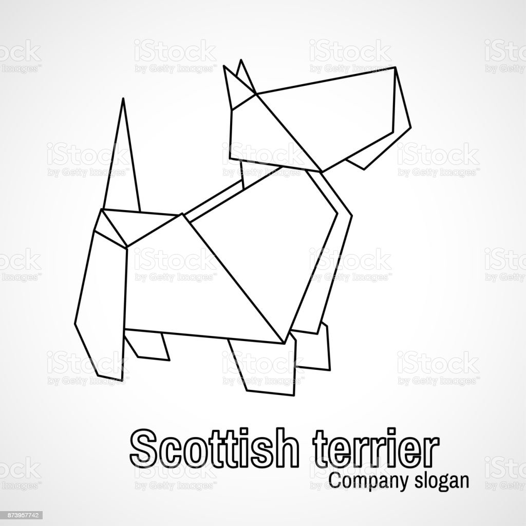 Illustration Of Outline Origami Dog Terrier Royalty Free Stock