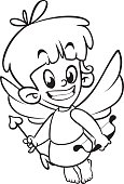 Illustration of outlined baby cupid . Cartoon coloring illustration