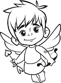 Illustration of outlined baby cupid. Cartoon coloring illustration