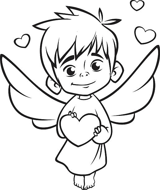 Ilustración de Illustration Of Outlined Baby Cupid Cartoon Coloring ...