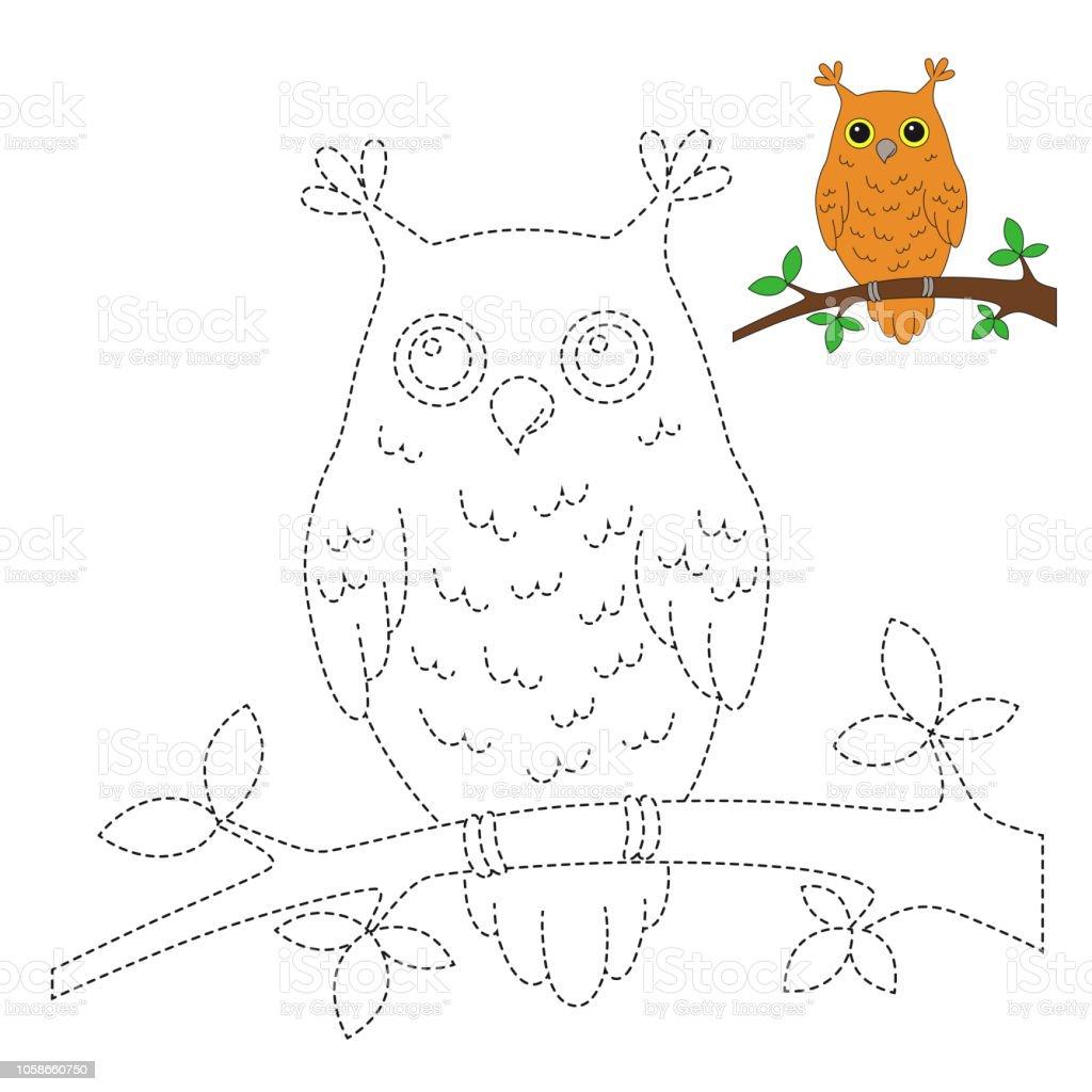 Ilustración de Ilustración De Búho Sentado Sobre La Rama Para El ...