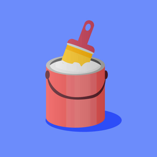 Illustration of paintbrush Illustration of paintbrush and opened paint bucket with handle. Vector object in flat style paint can stock illustrations