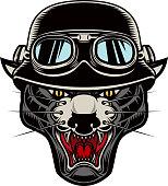 Illustration of pantera head in biker helmet. Design element for label, emblem, sign, poster, t shirt. Vector image