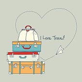 Illustration of paper airplane making a heart by suitcases