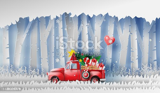 3D illustration of paper art Red Classic pickup truck car by gift,Christmas tree and balloon winter season forest.Happy new year and Merry Christmas day,Snowfall Landscape forest in full moon,vector.