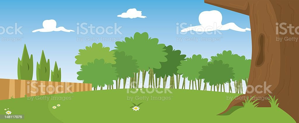 Illustration of park in sunny day with tree in front royalty-free stock vector art
