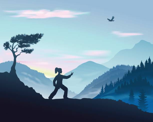 Illustration of Parting The Wild Horse's Mane Form of Tai Chi Vector illustration of yang woman performs Parting The Wild Horse's Mane Form of Tai Chi in the mountains qigong stock illustrations