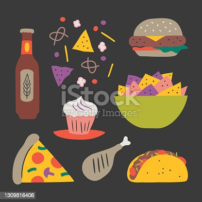 Illustration of party foods — hand-drawn vector elements