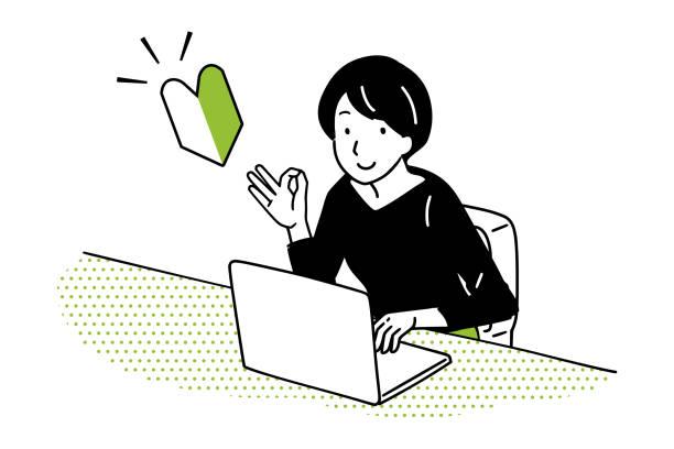 ilustrações de stock, clip art, desenhos animados e ícones de illustration of pc beginner ok. - da cintura para cima