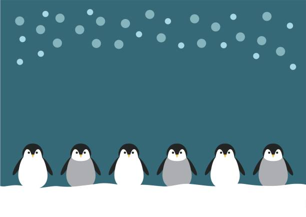 illustration of penguin and snow - penguin stock illustrations