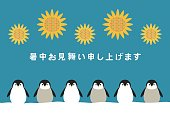 Illustration of penguin and sunflower(Summer greeting card)