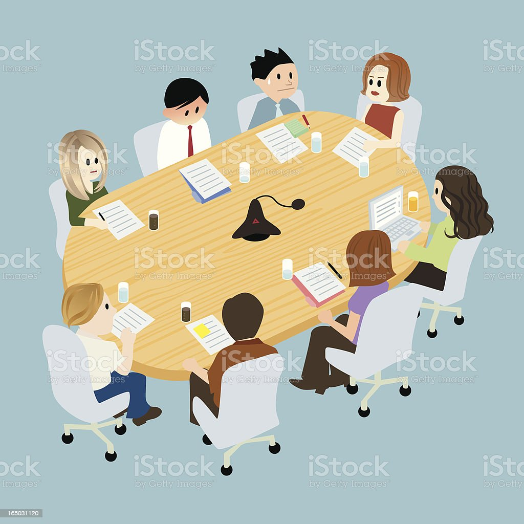 Illustration of people at a table in conference room royalty-free stock vector art